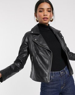 Barney's Originals leather biker jacket with pull ring zips-Black