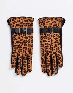 Barney's Originals real leather gloves in black and leopard print-Multi