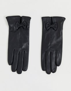 Barney's Originals real leather gloves with bow detail-Black