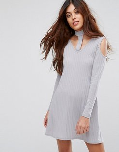 Ribbed Swing Dress With Tie Neck-Silver