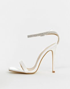 Bridal Lylie ivory satin rhinestone strap barely there sandals-White