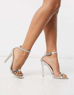Bridal Lylie silver metallic rhinestone strap barely there sandals