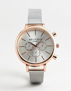 Chronograph Watch With Silver Strap and Rose gold Case