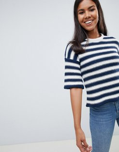 Chunky Stripe Knit Sweater Bell Sleeve-Navy
