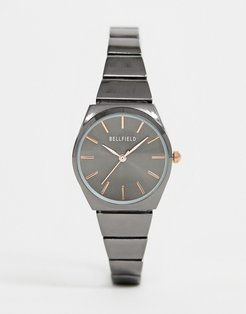 ladies gunmetal skinny bracelet watch-Gray