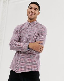 gingham slim fit shirt-Red