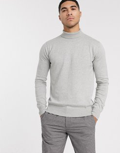 knitted roll neck in gray