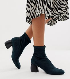 faux suede sock boot in indigo blue
