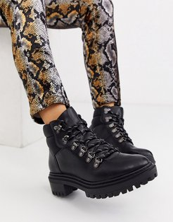 lace front hook detail boots in black