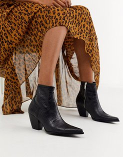moc croc heeled western boots in black