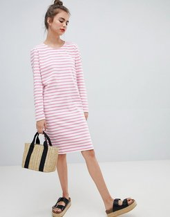 Bell Striped Shift Dress-Red