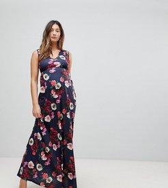 Maxi Dress With Plunge Neck And Cut Out Detail-Multi