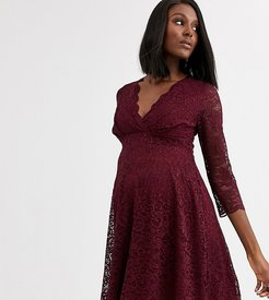 exclusive lace skater dress in wine-Red