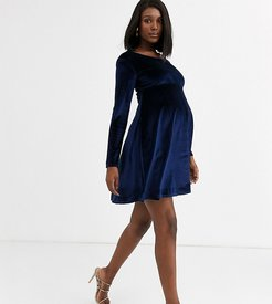 exclusive velvet long sleeved stretch midi skater dress in navy