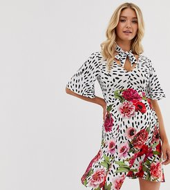 fluted sleeve midi dress in multi floral