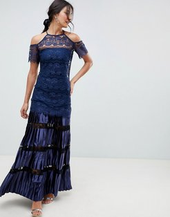Bodyfrock Cold Shoulder Lace Maxi Dress With Pleated Skirt-Navy