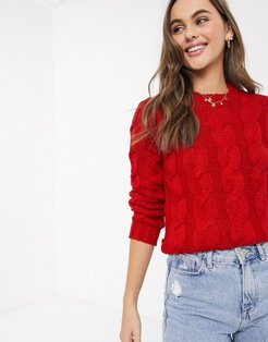 craft cable knit sweater in red