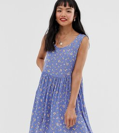 freya smock dress with delicate floral print-Blue