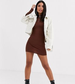 goswell zip pull sweater dress-Brown