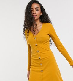 skyla rib dress with button front-Yellow