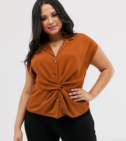 maxwell twist front blouse in rust-Brown