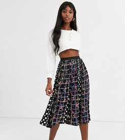 gin amidi skirt in mixed spot and-Black