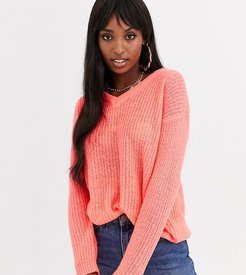 kneeson v neck sweater in neon pink