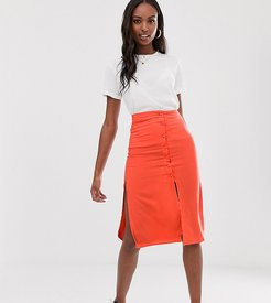 lyn midi skirt with button detail-Red
