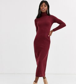 maxi dress with roll neck in berry-Red