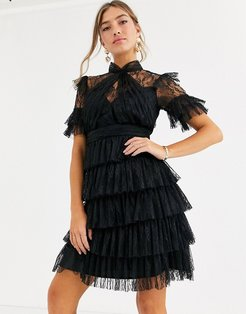 Liona lace tiered mini dress in black