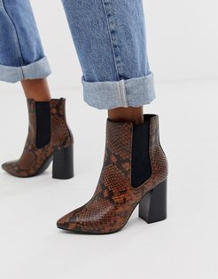 by ALDO Highrise heeled ankle boots in snake print-Orange