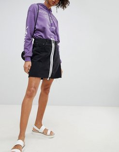 Denim Skirt with White Zip-Black