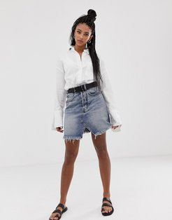 Shrunken denim skirt-Blue