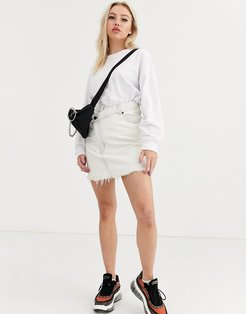 Slant denim skirt-White