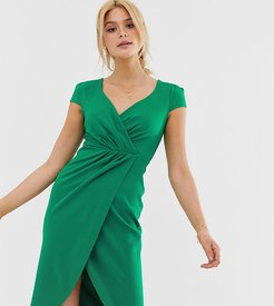 Bardot Wrap Over Pencil Midi Dress-Green