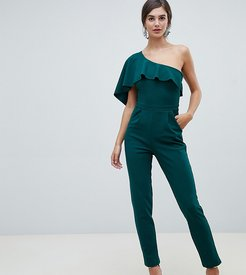 one sleeve wide leg jumpsuit-Green