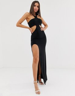 cutout maxi dress with thigh split in black