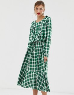 Custommade Malin dress in checked print-Green