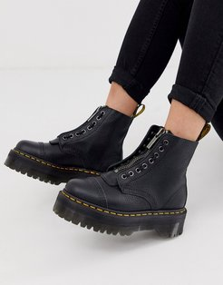 Sinclair flatform zip leather boots in tumbled black