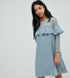 Shift Dress With Ruffle Detail-Green