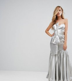 Fitted Maxi Dress with Tie Front Detail-Silver