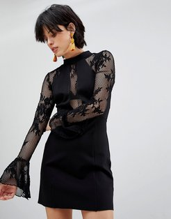 It's Now or Never Lace Sleeve Bodycon Dress-Black
