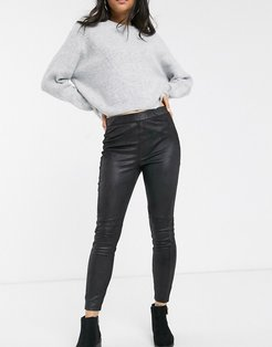 Midnight vegan suede skinny pants-Black
