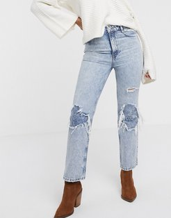 My Own Lane ripped knee bootcut jeans-Navy