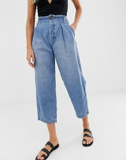 pleated high rise carrot jeans-Blue