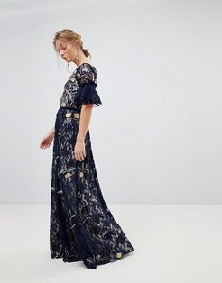 Allover Floral Embroidered Lace Maxi Dress With Flutter Sleeve-Navy