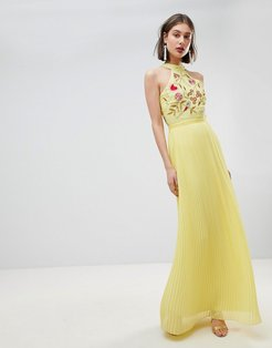 Embroidered Top Pleated Maxi Dress-Yellow