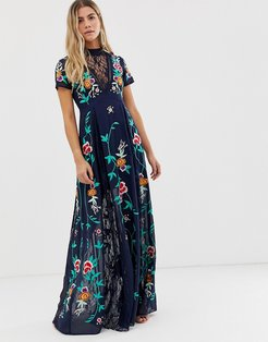 plunge front embroidered maxi dress with lace inserts in navy