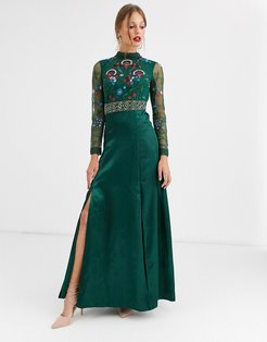 Frock & Frill embroidered long sleeve maxi dress-Green
