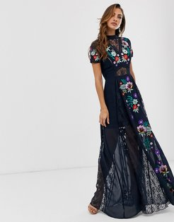 Frock & Frill embroidered short sleeve maxi-Black